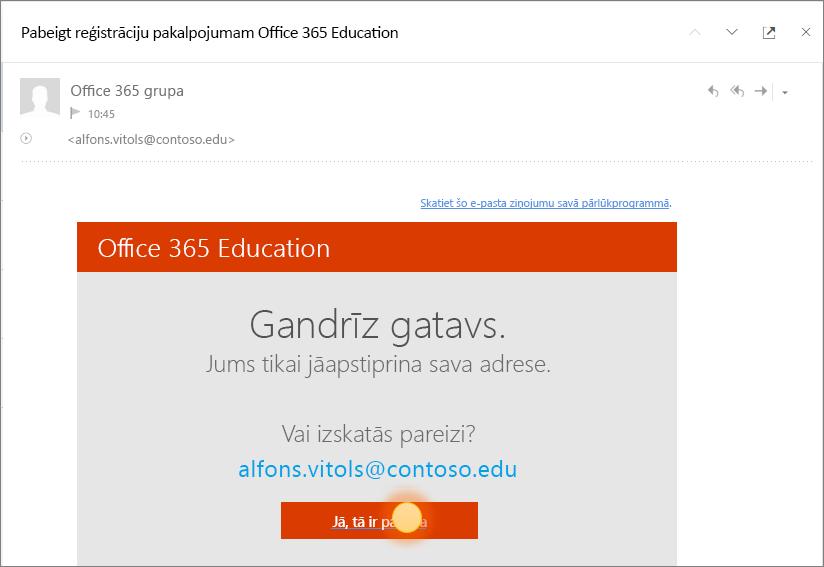 Ekrānuzņēmums ar galīgās verifikācijas ekrāna pakalpojumam Office 365 pierakstīšanās.