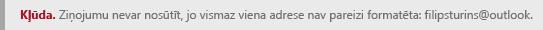 Ekrānuzņēmums ar adreses formatējuma kļūdu pakalpojumā Outlook.com.