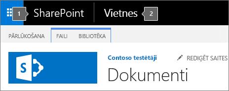 SharePoint 2016 augšējā kreisajā stūrī ekrāns, kurā redzams lietojumprogrammu palaidējs un virsrakstu