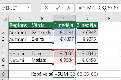 FunkcijasSUM izmantošana ar blakus nenovietotiem diapazoniem.  ŠūnasC8 formula ir =SUM(C2:C3,C5:C6). Varat arī izmantot diapazonus ar nosaukumiem, lai formula būtu =SUM(Nedēļa1,Nedēļa2).