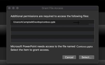 Dialoglodziņš, kurā redzams, ka Mac OS ir nepieciešamas papildu atļaujas, lai piekļūtu failam.