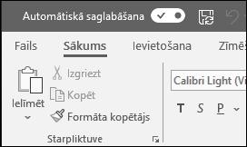 Office automātiskās saglabāšanas slēdzis