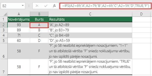 """IFS funkcijas Novērtējumi piemērs.  Formula šūnā B2 ir =IFS(A2>89,""""A"""",A2>79,""""B"""",A2>69,""""C"""",A2>59,""""D"""",TRUE,""""F"""")"""