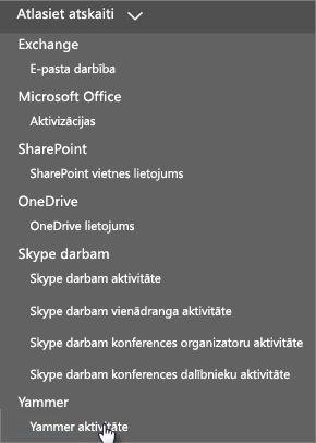 Izvēlnes Atskaites atlasīšana ekrānuzņēmums Office365 atskaišu informācijas panelī