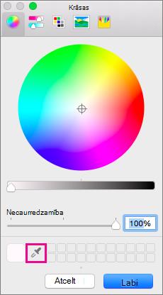 Pipetes rīku lodziņā krāsas