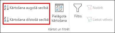 Programmas Excel Kārtošanas augošā vai dilstošā secībā pogas cilnē Dati