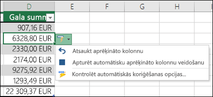 Opciju, lai atsauktu aprēķināto kolonnu, pēc tam, kad ir ievadīta formula