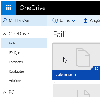 Ekrānuzņēmums dokumentu mapi pakalpojumā OneDrive.