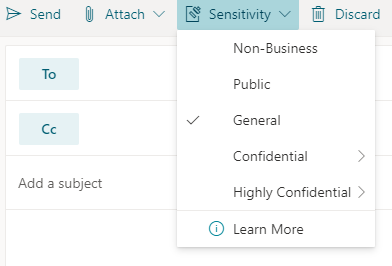 Jutības poga ar jutības opcijām programmā Outlook tīmeklī