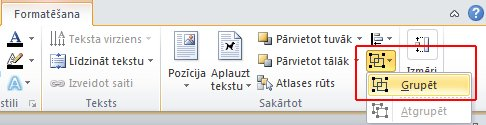 On the Format tab, in the Arrange group, click Group, and then click Group.