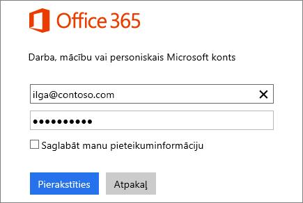 Office365 pierakstīšanās rūts ekrānuzņēmums