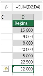 Excel parāda kļūdu, ja formula diapazonā izlaiž šūnas