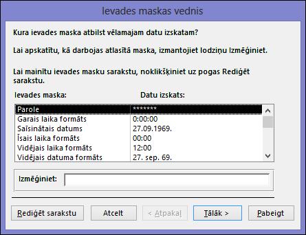 Ievades maskas vednis programmas Access datora datu bāzē