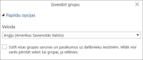 Izvēlēties sūtīt grupas e-pastu uz lietotāju iesūtnēm