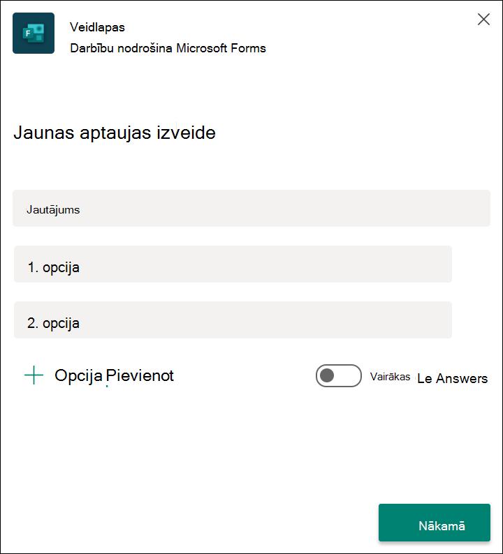 Veidlapu ātras aptaujas rezultāti pakalpojumā Microsoft Teams