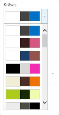 Ekrānuzņēmums ar krāsu izvēles izvēlni jaunā SharePoint vietnē