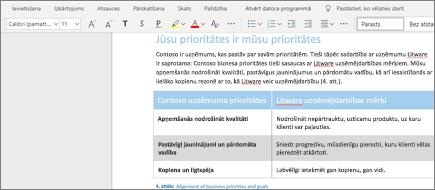 Teksta formatēšana pakalpojumā Word Online