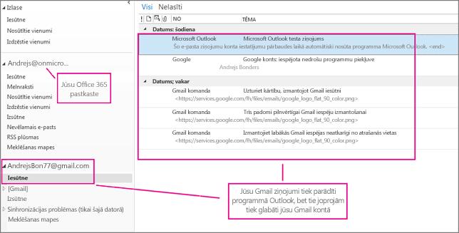 Pēc Gmail konta pievienošanas programmā Outlook būs redzami divi konti