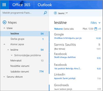 Primārais skats programmā Outlook tīmeklī