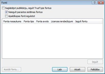 Iegulto fontu pārvaldība programmā Publisher2010