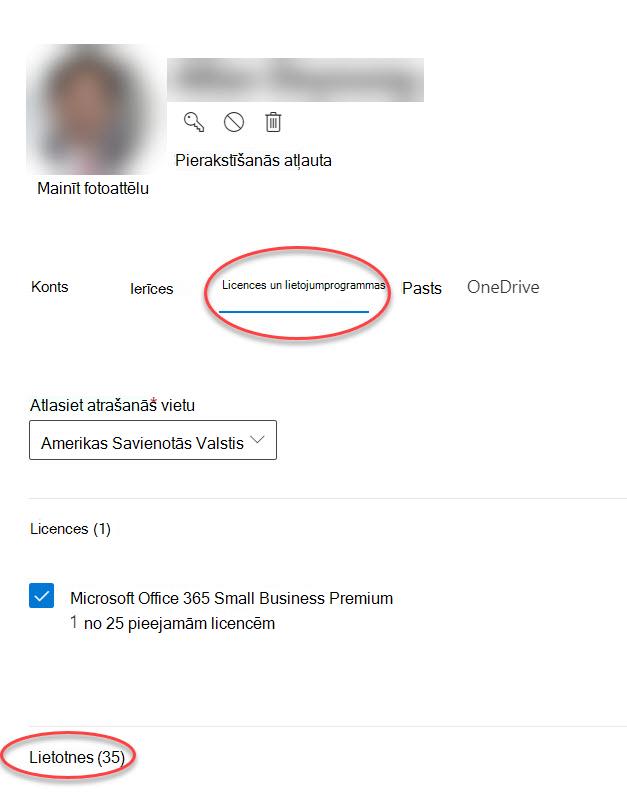 Konta opciju forma Microsoft 365 administrēšanas centrā