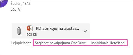 Ekrānuzņēmums, kurā saglabāt, lai OneDrive poga