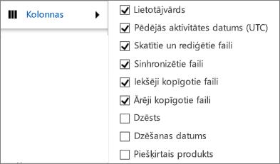 OneDrive darbam darbības pārskata kolonnas