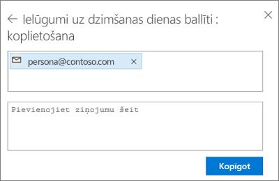 Ekrānuzņēmums, kurā redzama personu uzaicināšana pēc opcijas E-pasts atlasīšanas dialoglodziņā Koplietošana