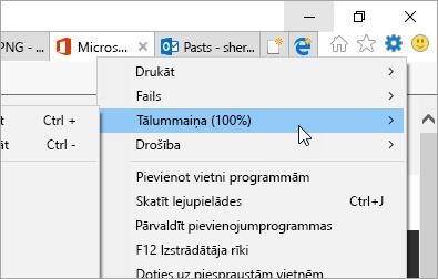 Ekrānuzņēmums ar Internet Explorer izvēlnē Rīki