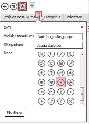 Pielāgotas darbības dialoglodziņš Dati tīmekļa datu lapā