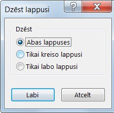 Lappušu noņemšana no publikācijas dialoglodziņā Lappušu dzēšana.