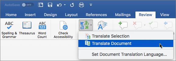 Cilne Pārskatīšana ar iezīmētu opciju Dokumenta tulkošana
