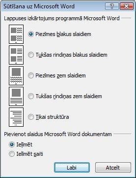 Dialoglodziņš Sūtīšana uz MicrosoftWord