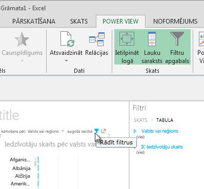 Ikona Filtri, kas tiek parādīta, norādot uz Power View vizualizāciju