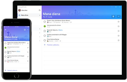 Microsoft lai-lietas My Day saraksta iestatīšana iPhone un virsma.