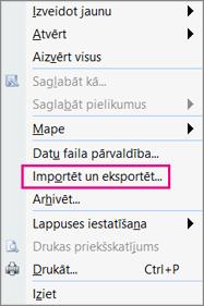 Izvēlieties Importēt un eksportēt.
