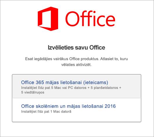 Izvēlieties Office 2016 darbam ar Mac licences veidu