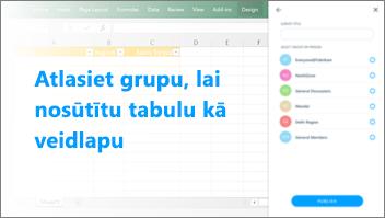 Ekrānuzņēmums: Izvēlieties grupu, lai nosūtītu tabulu