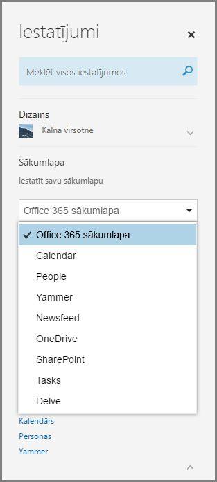Office365 sākumlapas mainīšana
