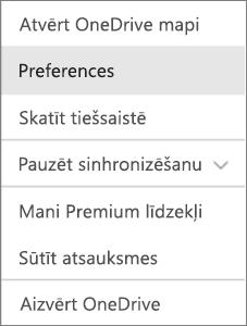 Darbību centrs pakalpojumā OneDrive operētājsistēmai Mac