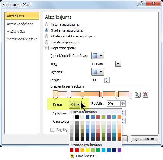 Lai lietotu pielāgotu gradienta krāsu shēmu, atlasiet pirmo gradienta pārtraukumu un pēc tam atveriet krāsu opcijas.