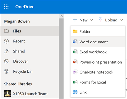 Jauna faila vai mapes izvēlne pakalpojumā OneDrive darbam