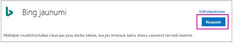 Variants Bing jaunumi savienotāja ieslēgšana