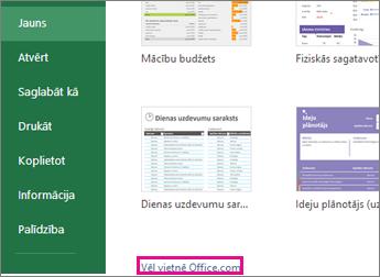Vietnē Office.com noklikšķiniet uz Vēl