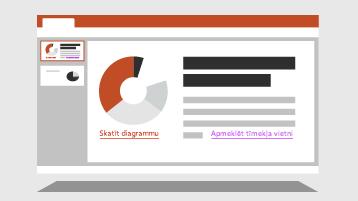 PowerPoint slaids ar krāsainām saitēm