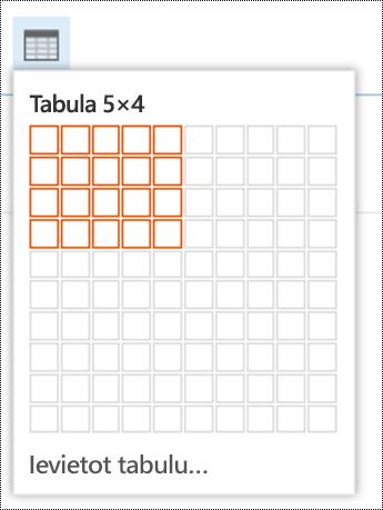 Pievienot vienkāršu tabulu programmā Outlook tīmeklī.