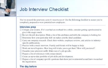 Darba intervijas kontrolsaraksts