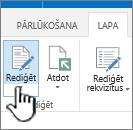 Uz lapas cilnes ar iezīmētu pogu Rediģēt