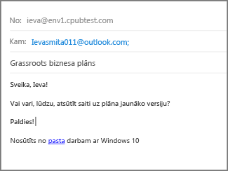 Aizpildiet tēmu un e-pasta pamattekstu un noklikšķiniet uz Sūtīt.