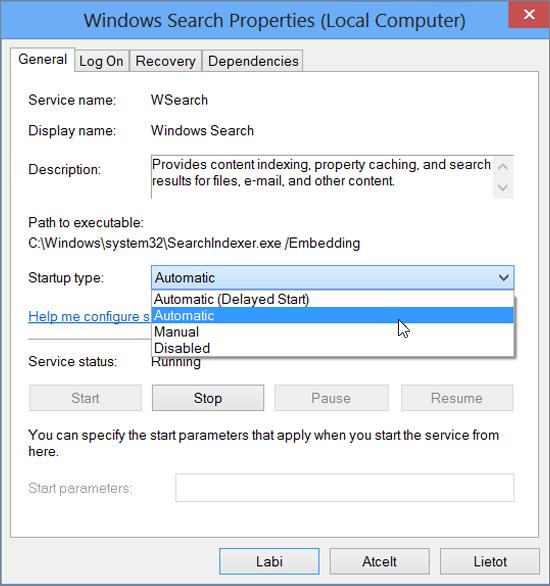 Ekrānuzņēmums ar dialoglodziņu Windows meklēšanas rekvizīti norāda atzīmēta izvēles rūtiņa automātiski, lai startēšanas tips iestatījumu.